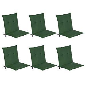 Beautissu Matelas Coussin pour Chaise Fauteuil de Jardin terrasse Loft NL Vert foncé – Set de 6-100x50x6cm