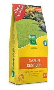 BHS GRUP4 Gazon Rustique Et Engrais | 5 kg | Soit 200 m² | Semences Enrichies en Engrais Organique pour Une Implantation Rapide Et Homogène.