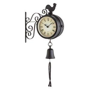 blumfeldt Early Bird – Horloge Murale Design Pendule de Gare rétro intérieur & extérieur avec thermomètre et décorations Coq et Cloche