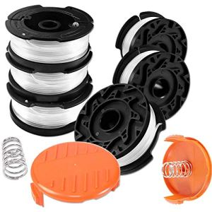 Bobine Fil Coupe Bordure pour Black et Decker Coupe-Bordures, Bobines A6481 A6485 Compatible avec Black et Decker Af-100, 6 Bobine de Fil Debroussailleuse avec 2 Couvercle de Bobine et 2 Ressort