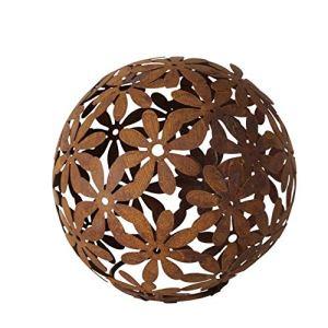 Boule décorative en métal marron rouille – Fleurs entrelacées – 23 x 23 cm
