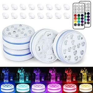 BOZHZO Lampe Piscine LED Lumière Submersibles, Éclairage Piscine LED Temps d'éclairage 30-50 heures IP68 Étanche 16 RGB Couleurs Lampes Décoratives pour Aquariums/Baignoire/Vase/Piscine/Étangs (4 Pcs)