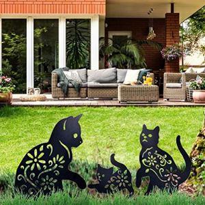 Cat Yard Art Jardin Statues Métalliques Déco, 3 PIÈCES Chat Évider Silhouette Forme Animale Pieu Décorations, Noir