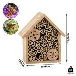 Cepewa Hôtel à insectes basique en bois à suspendre – Moustiquaire pour abeilles sauvages – Maison à insectes 18 cm x 19,5 cm – Décoration de jardin (1 hôtel à insectes basique)