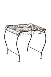 CLP Table de Jardin Carrée ZARINA | Table de Balcon de Style Nostalgique en Fer Hauteur 46 cm | Table de Terrasse à 4 Pieds Stable | Meuble de Jardin avec Surface 45 x 45 cm en Différentes Couleurs Bronze