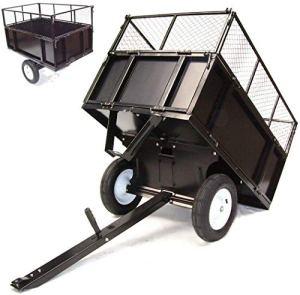 D+L Remorque basculante de 300 kg pour tondeuse à gazon – Transformateur de pelouse – Rabattable – Parois latérales rabattables