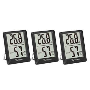 DOQAUS Mini Thermomètre Intérieur, 3 Pièces Hygrometre Interieur de Haute Précision, ℃/℉Commutable, pour Détecter humidité et la température, Indication du Niveau de Confort, Portable, (Noir)