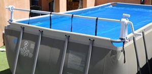 Enrouleur Télescopique Piscine Hors Sol – Gain de place – Mobile sur un axe – Special Couverture Solaire Bâche à bulles été