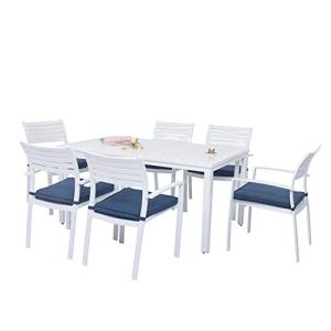 Ensemble de Table et de Chaise en métal Sept pièces d'extérieur Ensemble de Table et de Chaise de mobilier Nordique d'extérieur Ensemble de Table et de Chaise de Combinaison de café de Cour
