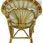Fauteuil chaise de soleil en osier, bambou et rotin naturel avec coussin pour maison, salon