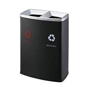 FEANG Poubelle d'extérieur en acier inoxydable à double baril, grande poubelle pour intérieur/extérieur (couleur : noir, taille : 68 x 31 x 73,6 cm)