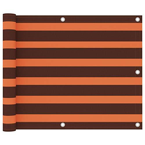 Festnight Écran de Balcon Paravent Extérieur Brise-Vue Orange et Marron 75×600 cm Tissu Oxford