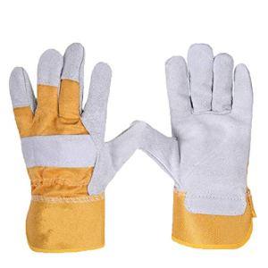 Gants de jardinage 12 paires vélo Manipulation Protection du travail de soudage Gants en cuir plus confortable résistant à l'usure Souder court Huangbai Couleur Gants de travail de jumelage gants de s