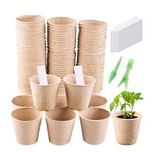 Gosear Seed Starter Peat Pot Kit 100 Plateaux De Semis De Germination BiodÉGradables Et 2 Plateaux De Semis Dibbers Et 50 ÉTiquettes De Plantes De Serre À Domicile