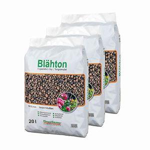 HanseGrand Granulés d'argile expansée 60 l dans un sac de substrat hydroponique pour jardinières et pots de fleurs (3 x 20 l)