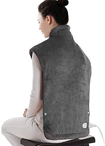 Hanwu Grand électrique Coussin Chauffant pour Le Cou et épaules, Coussin Chauffant pour Les maux de Dos, 6 réglages de température, Chauffage Rapide, 37 x 18INCH