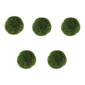 Happyyami 5 Pièces Artificielle Moss Rocks Marimo Moss Boules Vert Mousse Boules Décoratif Aquarium Pierres Ornement pour Le Remplisseur de Vase Fée Jardin
