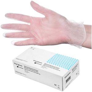 HeroTouch 100 Gants Jetables en Vinyle Transparent Non Poudrés Taille M   Boîte Distributrice Gants Protecteur Maison & Cosmétique Hygiène Sécurité