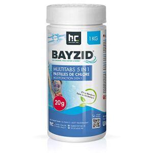 Höfer Chemie BAYZID 5 en 1- Pastilles de chlore multifonction de 20 g- 1 x 1 kg – Pour la piscine – Réunissent 5 produits en 1 seul pour une eau de piscine propre et hygiénique
