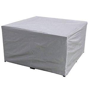 Housse Salon deJardin, Housse de Protection pour Table de Jardin Rectangulaire en Tissu Oxford 210D Imperméable Coupe-Vent, Argent (Size : 123x123x74cm)