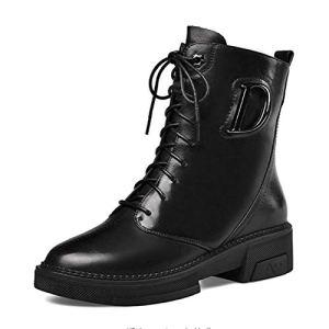 HWJL Femmes Bottes Martin, Talon Plat Bout Rond Plateforme Bottines, Chaussures en Cuir Chelsea Pomp,Noir,40EU