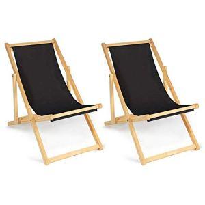IDMarket – Lot de 2 chaises Longues Pliantes chilienne Bois avec Toile Noire