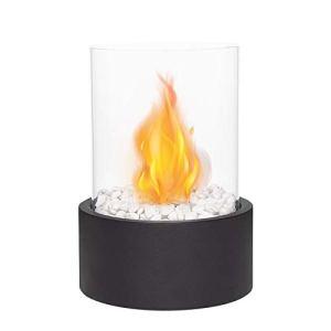 JHY DESIGN Table Fire Fire Pit Cheminée de table portable intérieure/extérieure – Cheminée sans fil au bioéthanol à combustion propre (très grand noir)