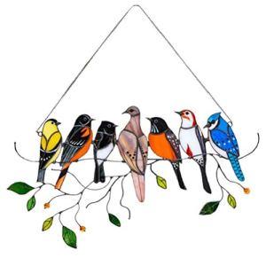 Jsdufs Mini fenêtre d'oiseau teinté Suspendu Attrape-Soleil, Oiseaux vitrail tentures de la série d'oiseaux Ornements pendentifs décor à la Maison Cadeaux pour Les Amoureux des Oiseaux