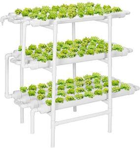 Kit De Culture Hydroponique Pour Légumes 3 couches 108 Sites végétaux 12 tuyaux de PVC Système de croissance hydroponique avec pompe à eau, minuterie de pompe, panier de niquets et éponge pour légumes