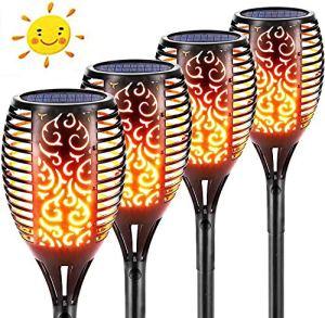 Lampe solaire à 96 LED – Torche de jardin avec flamme réaliste – Étanche IP65 – Pour jardin, terrasse, pelouse, cour, chemins et cours.