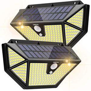 Lampe Solaire Extérieur [2 Packs 286 LEDs – 2600 lumens]OMERIL Lumière Solaire avec Détecteur de Mouvement,3 Modes d'éclairage, Grand Angle de 270 °, Applique Solaire Extérieur Étanche pour Jardin