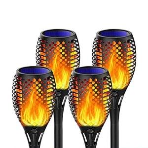 Lampes Solaires de Jardin a LED Torches de Jardin Extérieur Étanche IP65 Lumières de Paysage Solaires – Lumière Chaude Extérieure Marche/Arrêt Automatique