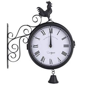 LNIM Horloge murale double face résistante aux intempéries pour l'intérieur et l'extérieur de la gare de jardin Paddington Station vintage à quartz avec support extérieur, 30*37*9cm
