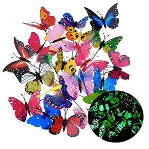 Lomire® 20Pcs Papillons de Jardin déco Lumineux, 3D Papillons colorés de Fluorescence pour décoration de Fleur, Ornements Parfaits pour décoration de Jardin Partie Patio Printemps