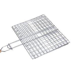 LQKYWNA Panier de barbecue portable antiadhésif en fil de fer galvanisé avec poignée en bois pour barbecue, outil pour poissons, légumes, viande (39 x 22 cm)