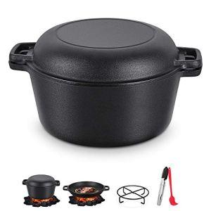 Magicfun BBQ Dutch Oven, 4.7L Outdoor Casserole en Fonte avec Couvercle et Plaque de Gril, Four Néerlandais Cocotte en Fonte pour Barbecue, rôtissage, Cuisson, 27 x 27 x 15cm