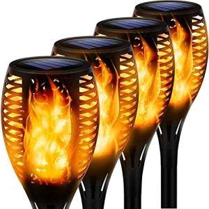 MFFACAI Lampe À Flamme Solaire avec IP65 Étanche, Lampe Solaire 4 PCS Flamme en Plastique ABS Non Conductrice et Veille Automatique/Réveil Automatique pour La Terrasse et Le Chemin du Parc de Jardin