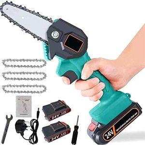 Mini scie électrique Mini-Scie électrique Portable sans Fil Chainsaw avec Chargeur et 2 Batteries 3 chaînes électriques élaguer