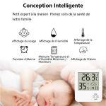 Mini Thermomètre Hygromètre Intérieur Numérique à Haute Précision thermomètre Maison avec Support Pliant Et Réveil pour Indicateur du Niveau de Confort du Maison Bureau Cuisine Jardin etc Blanc