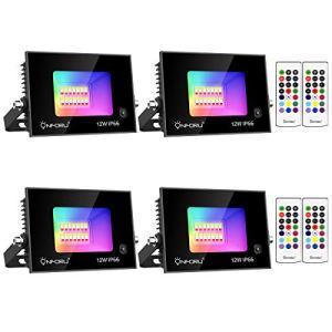 Onforu Lot de 4 Projecteurs LED RGB 12W, IP66 Étanche Extérieur Lampe Spot led Multicolore Réglable avec Télécommande, Décor Ambiance Projecteur Éclairage Couleur RVB pour Noël Jardin Fête Mariage
