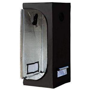 Outsunny Chambre de Culture hydroponique Tente de Culture Grow Box 0,6L x 0,6l x 1,4H m Oxford 600D Mylar Noir
