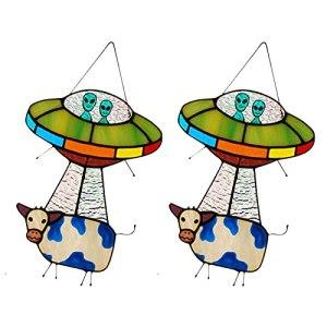 Painted UFO Pendant, Alien and Cow Stained Glass Suncatcher Window Panel, UFO Alien Cow Pendant Ornaments, for Doors, Terrace, Garden, Courtyard (2PCS)