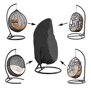 Queta Housse de Fauteuil Suspendu Jardin Rotin Osier Fauteuil Suspendu Imperméable Housse Housse de Protection pour œufs Chaise résistant à l'eau et à la poussière – 190 X115cm (Noir)