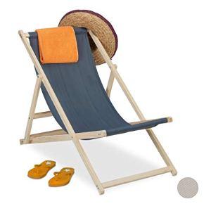 Relaxdays Chaise Longue en Bois, pour la Plage avec revêtement Tissu, Pliable et réglable, Jardin, Balcon, Anthracite, Gris foncé, 1 élément
