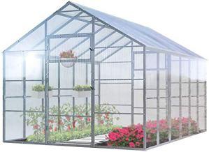 Serre de Jardin Polycarbonate Tudor 3 x 14 Mètres Cadre de Acier Galvanisé avec Panneaux Transparent 4 mm Diverses Modèles e Tailles – Idéale pour pousser et protéger vos plantes en toutes saisons