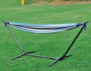 SOONHUA Hamac de camping portable à suspendre avec support pour extérieur, randonnée, bleu