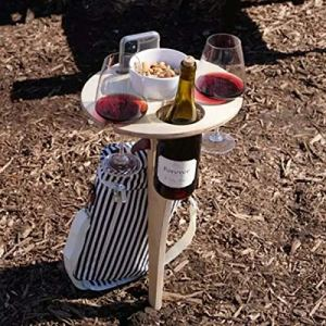 Speaklaus Outdoor Folding Wine Table, Portable Wooden Holder Picnic Table, Wine Glass Rack, Collapsible Table for Outdoors, Garden, Travel, Stylish Mini Picnic Table for Outdoor Party