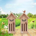 Sxiocta Insecte abri de Jardin Bois Papillons Maison Insecte en Bois hôtel-extérieur Habitat de Nidification pour Abeilles, Papillons, coccinelles, 10 X 8 X 28,5 cm