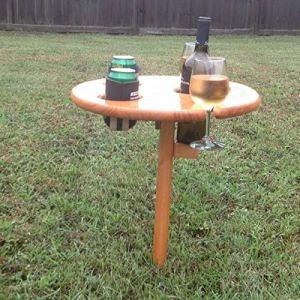Table à vin d'extérieur – Table de Plage Portable pour Le Sable et l'herbe – Table à vin d'extérieur en Bois avec Ouvre-Bouteille de vin – Table de Pique-Nique – Table de collation de Plage