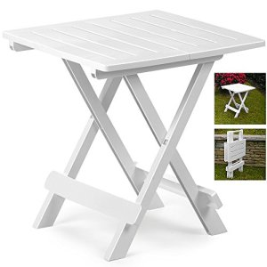 Table pliante Adige – Table d'appoint – Table de camping – Table de jardin – 45cm x 43cm x 50cm – Différentscoloris Weiß